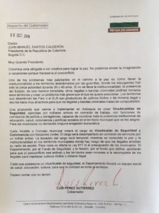 La carta enviada por Pérez a Santos